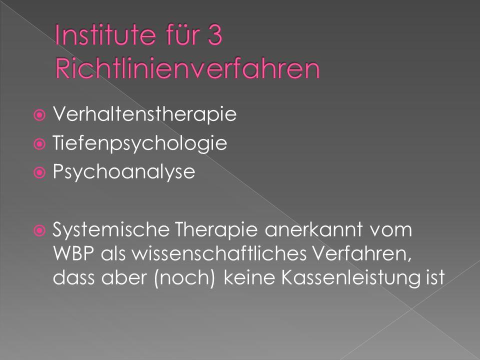 Verhaltenstherapie Tiefenpsychologie Psychoanalyse Systemische Therapie anerkannt vom WBP als wissenschaftliches Verfahren, dass aber (noch) keine Kas