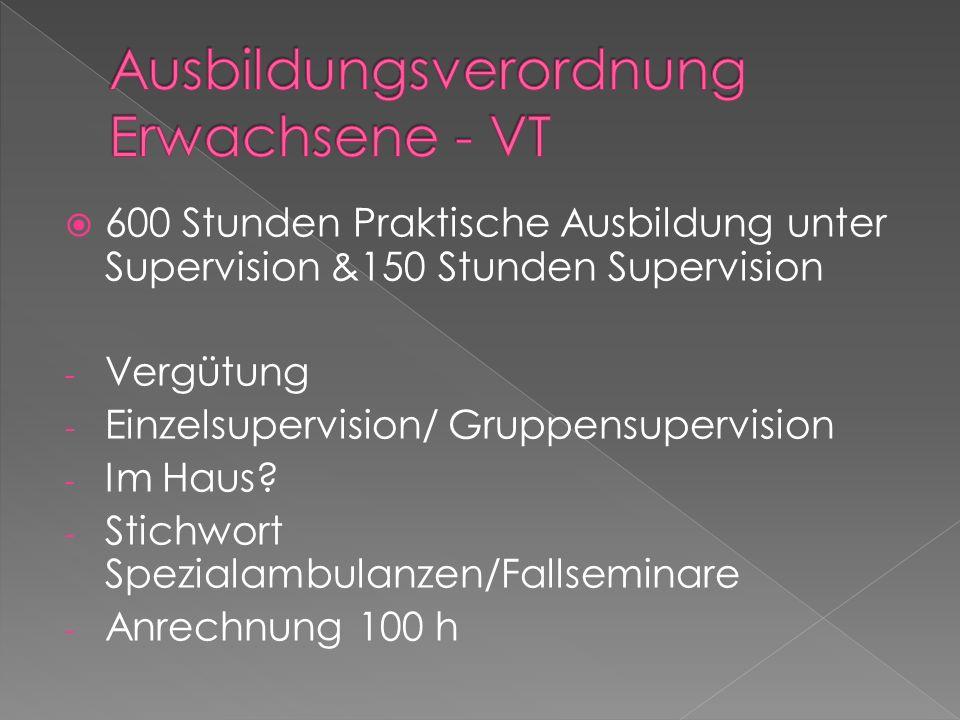 600 Stunden Praktische Ausbildung unter Supervision &150 Stunden Supervision - Vergütung - Einzelsupervision/ Gruppensupervision - Im Haus? - Stichwor