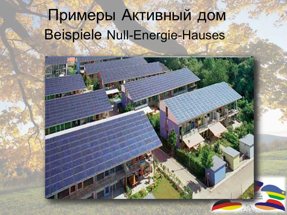 В результате: Активный дом Daraus folgt: Null Energie Haus Производит столько энергии сколько ему необхоимо Produziert genauso viel Heiz- und Elektroenergie wie verbraucht wird Или даже больше.