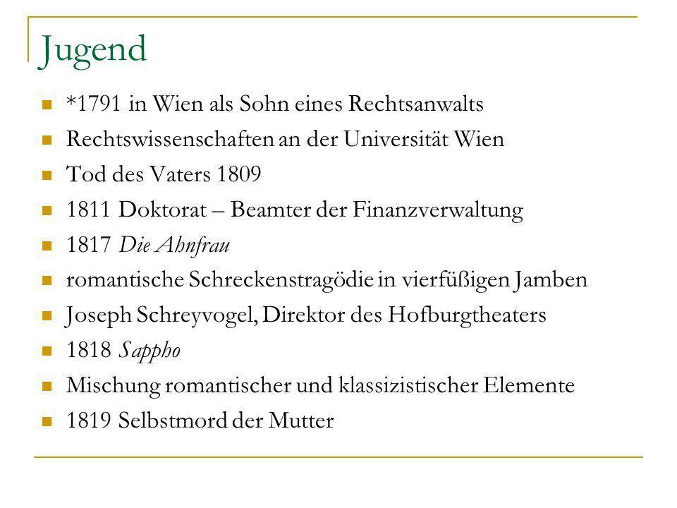 Jugend *1791 in Wien als Sohn eines Rechtsanwalts Rechtswissenschaften an der Universität Wien Tod des Vaters 1809 1811 Doktorat – Beamter der Finanzv