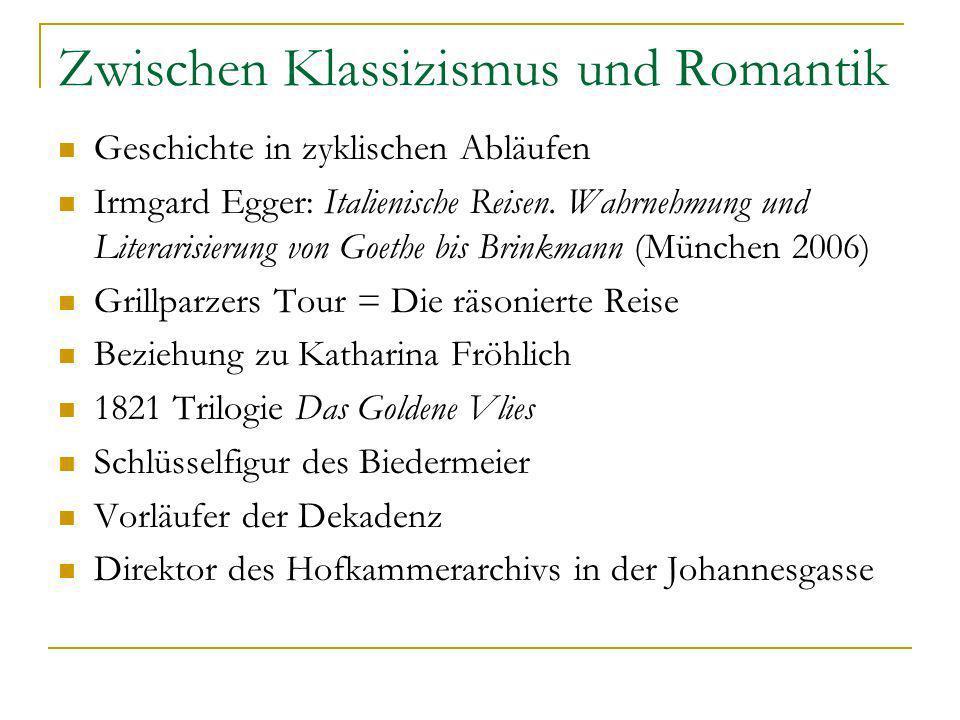 Zwischen Klassizismus und Romantik Geschichte in zyklischen Abläufen Irmgard Egger: Italienische Reisen. Wahrnehmung und Literarisierung von Goethe bi