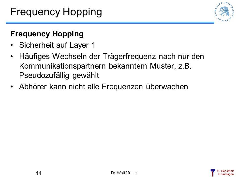 IT-Sicherheit Grundlagen Dr. Wolf Müller 14 Frequency Hopping Sicherheit auf Layer 1 Häufiges Wechseln der Trägerfrequenz nach nur den Kommunikationsp