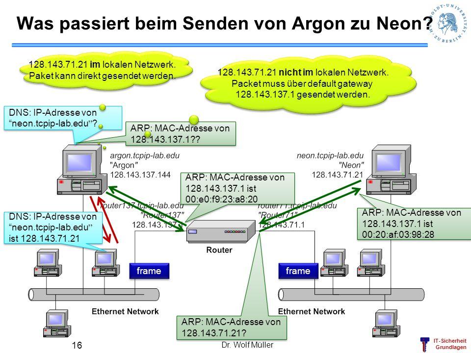 IT-Sicherheit Grundlagen Dr. Wolf Müller 16 frame ARP: MAC-Adresse von 128.143.71.21? ARP: MAC-Adresse von 128.143.137.1 ist 00:20:af:03:98:28 ARP: MA
