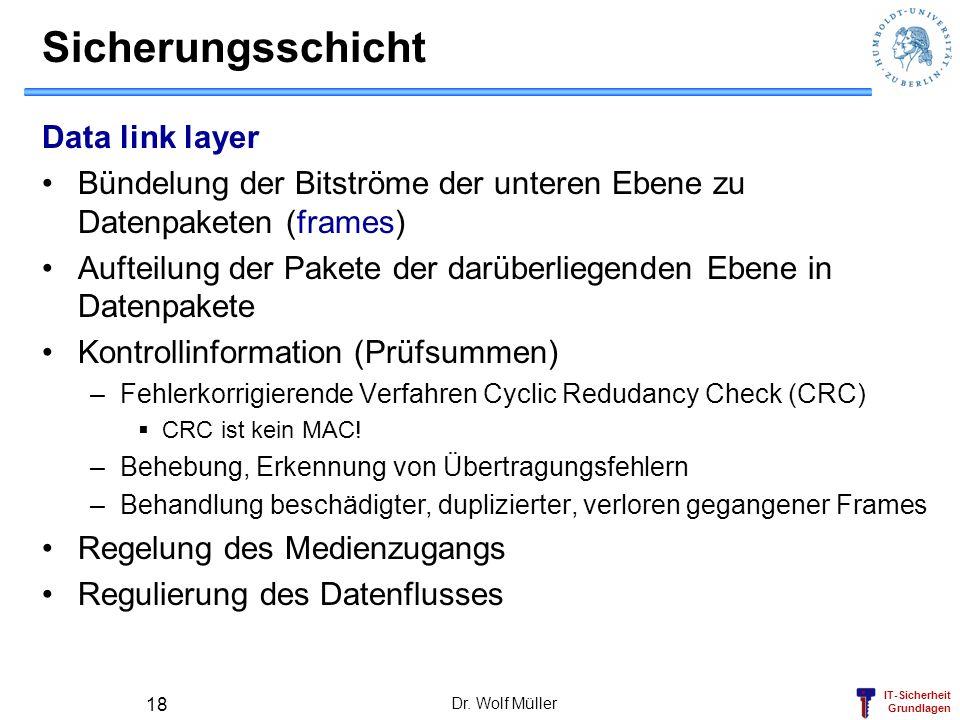 IT-Sicherheit Grundlagen Dr. Wolf Müller 18 Sicherungsschicht Data link layer Bündelung der Bitströme der unteren Ebene zu Datenpaketen (frames) Aufte