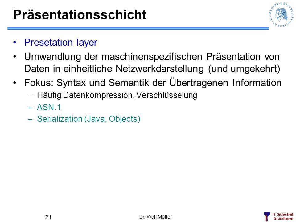 IT-Sicherheit Grundlagen Dr. Wolf Müller 21 Präsentationsschicht Presetation layer Umwandlung der maschinenspezifischen Präsentation von Daten in einh