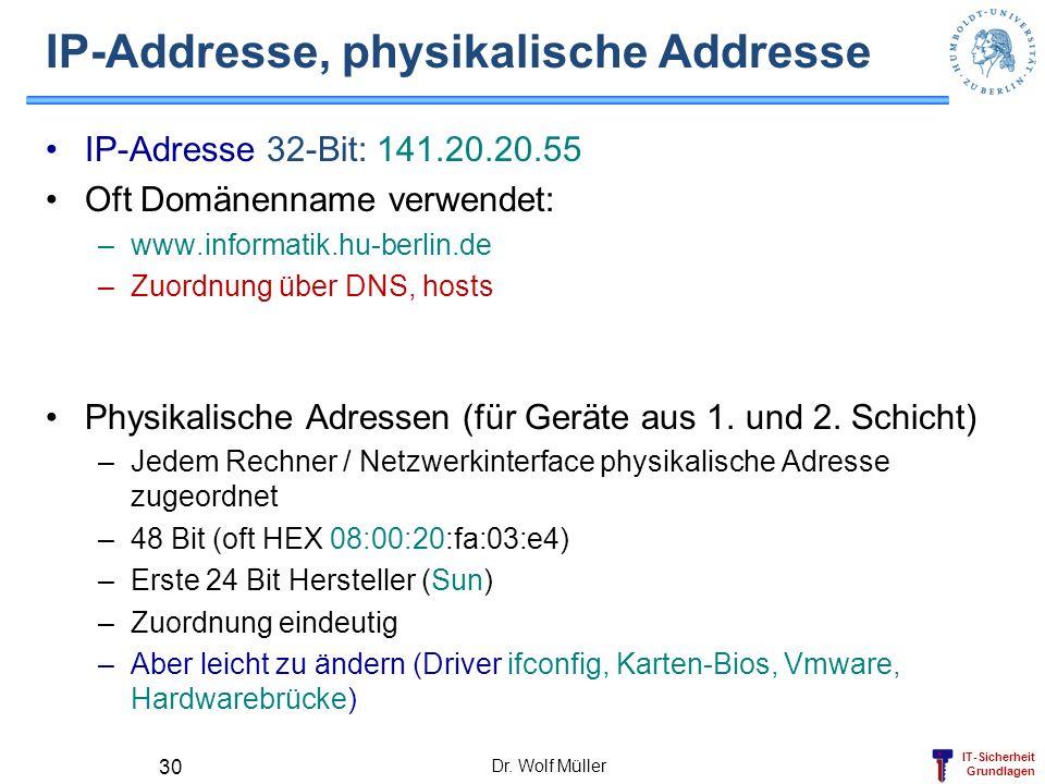 IT-Sicherheit Grundlagen Dr. Wolf Müller 30 IP-Addresse, physikalische Addresse IP-Adresse 32-Bit: 141.20.20.55 Oft Domänenname verwendet: –www.inform