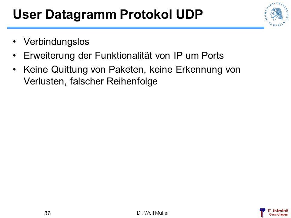 IT-Sicherheit Grundlagen Dr. Wolf Müller 36 User Datagramm Protokol UDP Verbindungslos Erweiterung der Funktionalität von IP um Ports Keine Quittung v