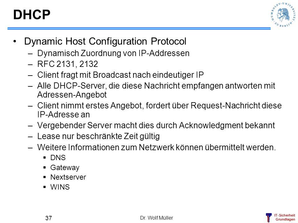 IT-Sicherheit Grundlagen Dr. Wolf Müller 37 DHCP Dynamic Host Configuration Protocol –Dynamisch Zuordnung von IP-Addressen –RFC 2131, 2132 –Client fra