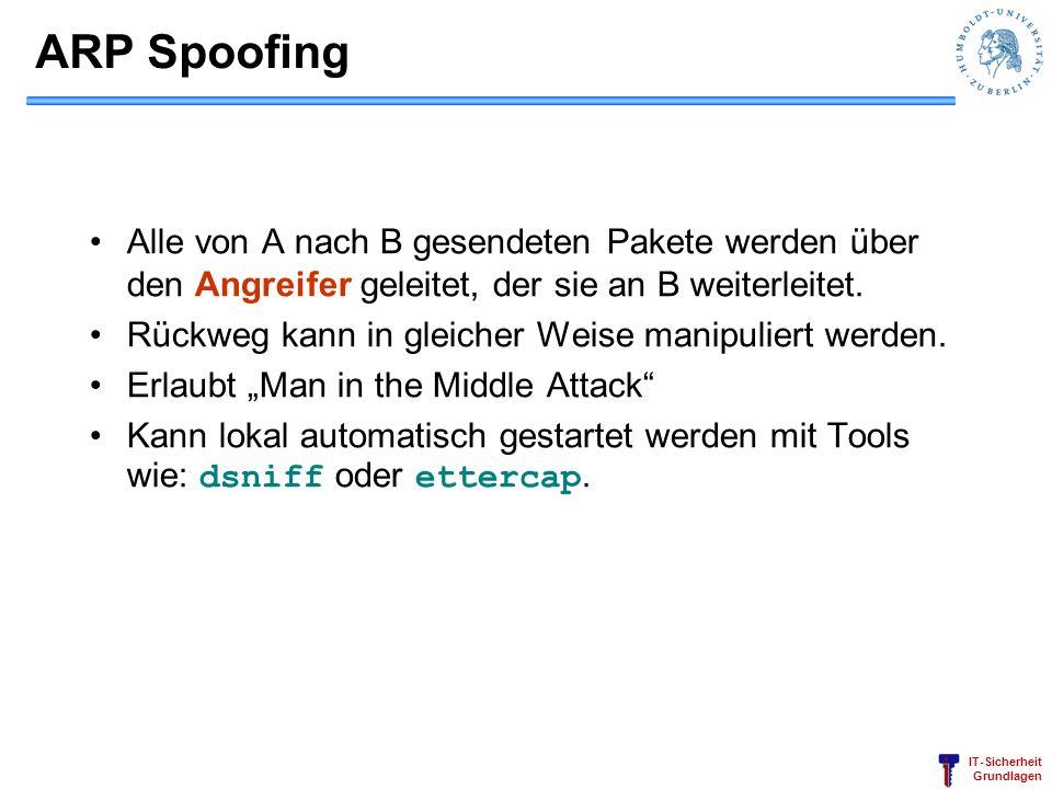 IT-Sicherheit Grundlagen ARP Spoofing Alle von A nach B gesendeten Pakete werden über den Angreifer geleitet, der sie an B weiterleitet. Rückweg kann