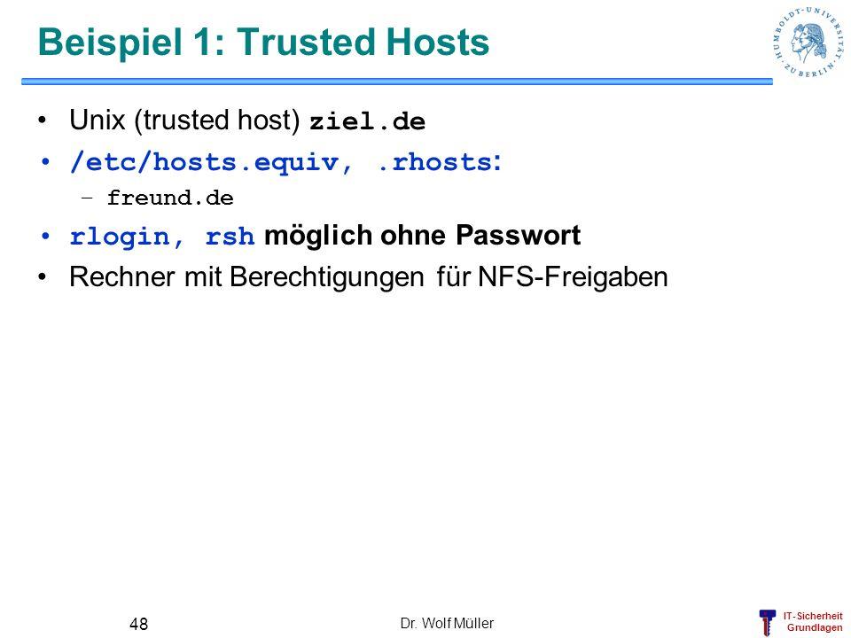 IT-Sicherheit Grundlagen Dr. Wolf Müller 48 Beispiel 1: Trusted Hosts Unix (trusted host) ziel.de /etc/hosts.equiv,.rhosts : –freund.de rlogin, rsh mö