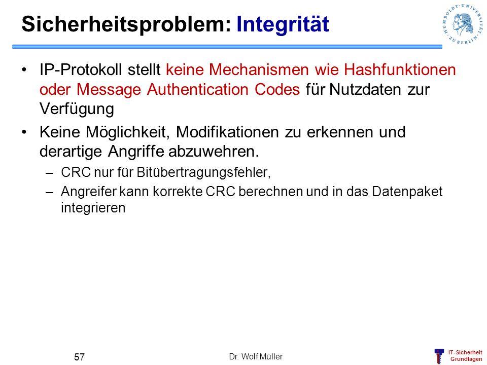 IT-Sicherheit Grundlagen Dr. Wolf Müller 57 Sicherheitsproblem: Integrität IP-Protokoll stellt keine Mechanismen wie Hashfunktionen oder Message Authe