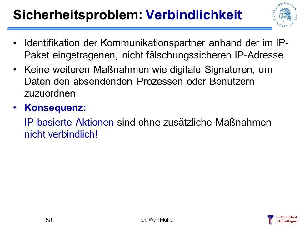 IT-Sicherheit Grundlagen Dr. Wolf Müller 58 Sicherheitsproblem: Verbindlichkeit Identifikation der Kommunikationspartner anhand der im IP- Paket einge