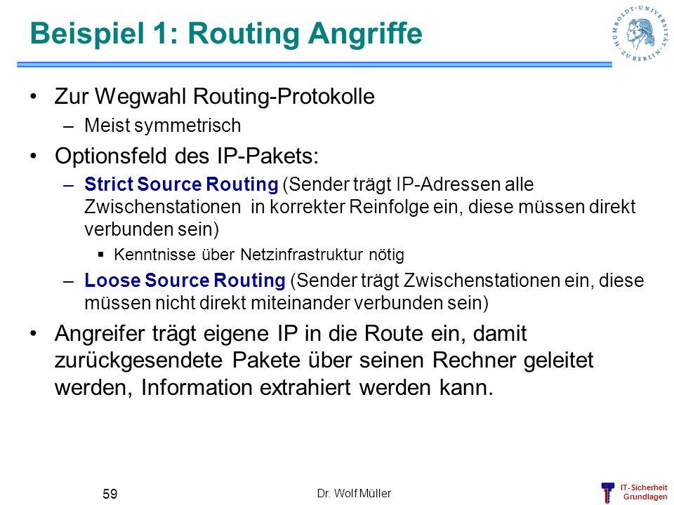 IT-Sicherheit Grundlagen Dr. Wolf Müller 59 Beispiel 1: Routing Angriffe Zur Wegwahl Routing-Protokolle –Meist symmetrisch Optionsfeld des IP-Pakets: