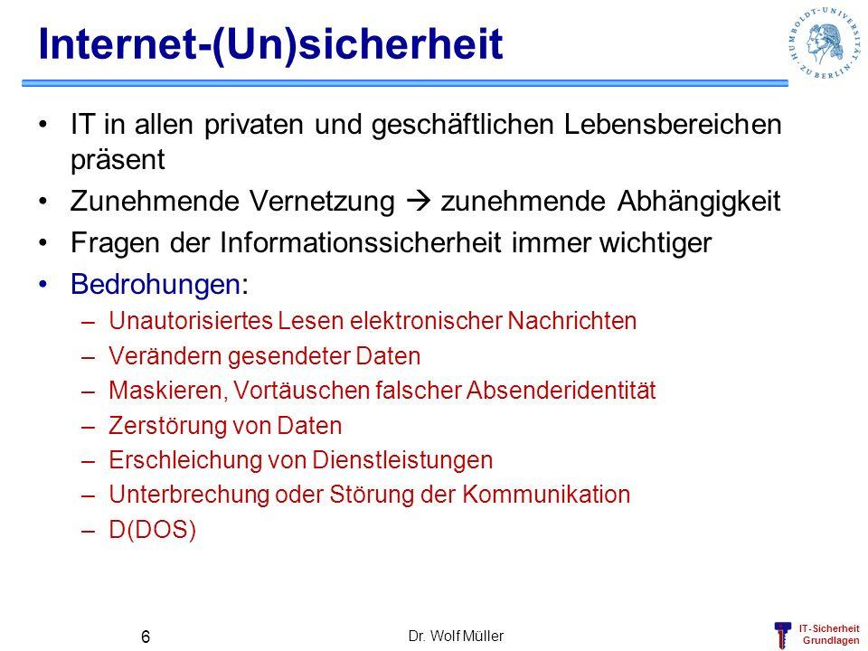 IT-Sicherheit Grundlagen Dr. Wolf Müller 6 Internet-(Un)sicherheit IT in allen privaten und geschäftlichen Lebensbereichen präsent Zunehmende Vernetzu