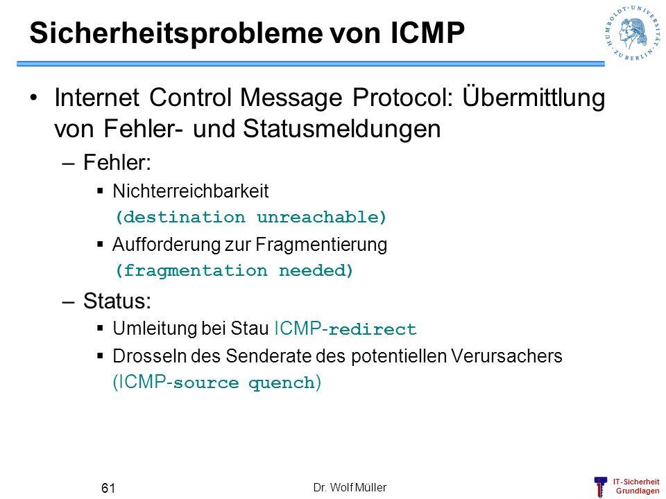 IT-Sicherheit Grundlagen Dr. Wolf Müller 61 Sicherheitsprobleme von ICMP Internet Control Message Protocol: Übermittlung von Fehler- und Statusmeldung