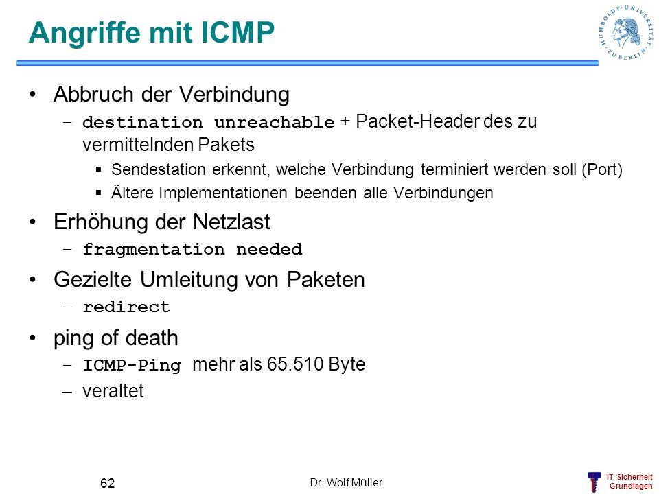 IT-Sicherheit Grundlagen Dr. Wolf Müller 62 Angriffe mit ICMP Abbruch der Verbindung –destination unreachable + Packet-Header des zu vermittelnden Pak