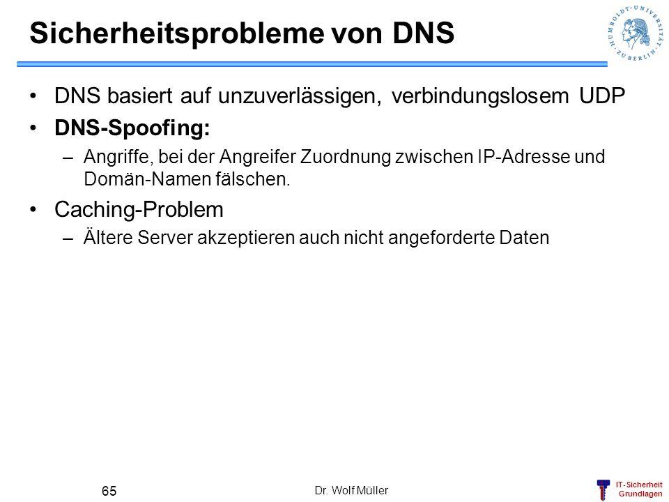 IT-Sicherheit Grundlagen Dr. Wolf Müller 65 Sicherheitsprobleme von DNS DNS basiert auf unzuverlässigen, verbindungslosem UDP DNS-Spoofing: –Angriffe,