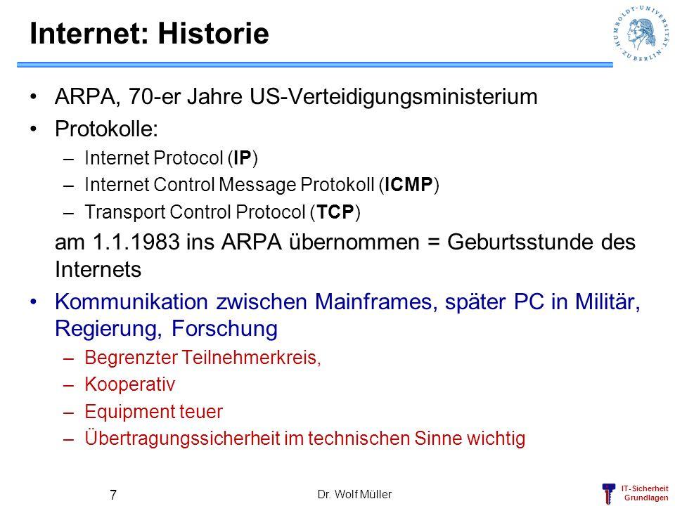 IT-Sicherheit Grundlagen Dr. Wolf Müller 7 Internet: Historie ARPA, 70-er Jahre US-Verteidigungsministerium Protokolle: –Internet Protocol (IP) –Inter