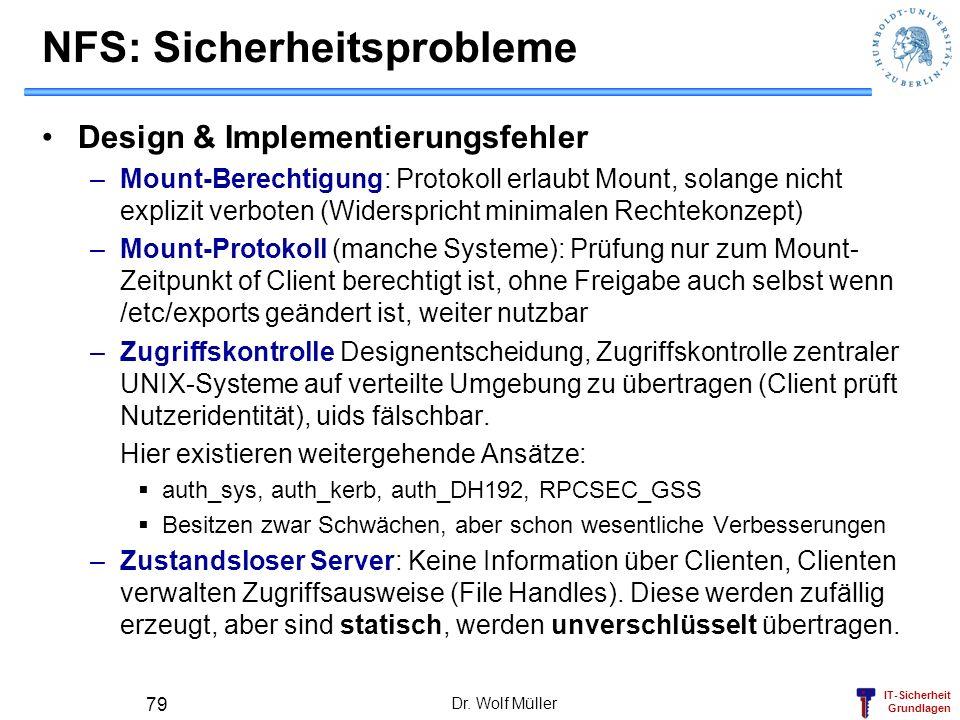 IT-Sicherheit Grundlagen Dr. Wolf Müller 79 NFS: Sicherheitsprobleme Design & Implementierungsfehler –Mount-Berechtigung: Protokoll erlaubt Mount, sol