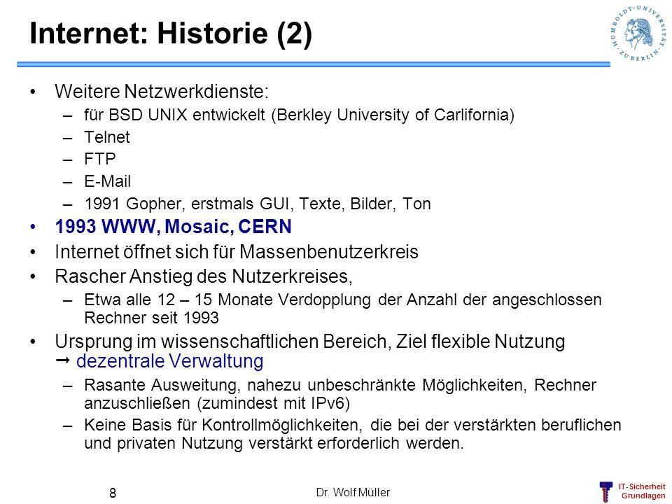 IT-Sicherheit Grundlagen Dr. Wolf Müller 8 Internet: Historie (2) Weitere Netzwerkdienste: –für BSD UNIX entwickelt (Berkley University of Carlifornia