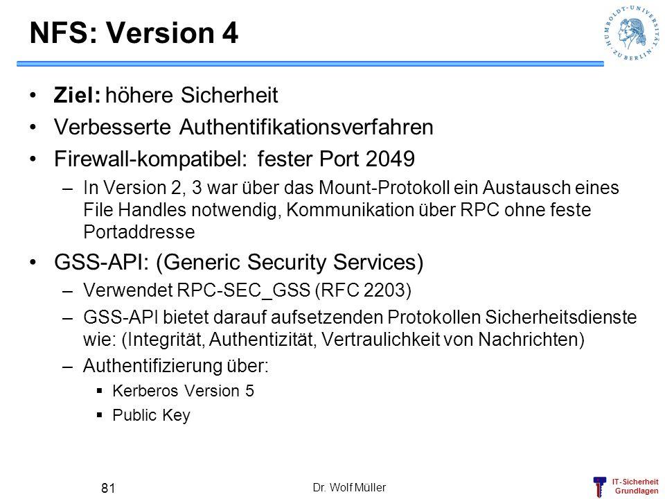 IT-Sicherheit Grundlagen Dr. Wolf Müller 81 NFS: Version 4 Ziel: höhere Sicherheit Verbesserte Authentifikationsverfahren Firewall-kompatibel: fester
