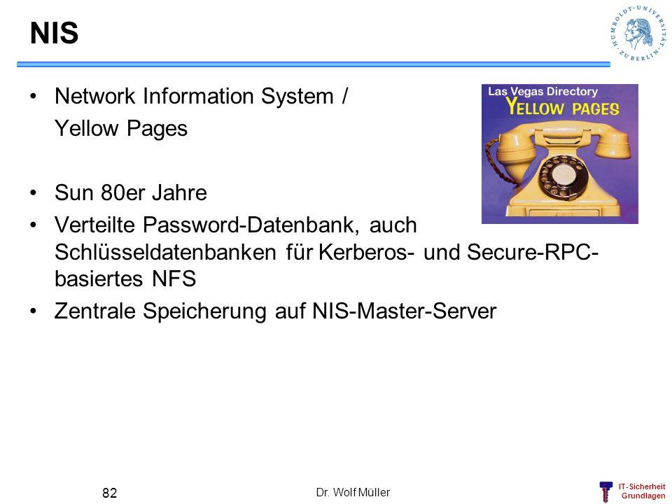 IT-Sicherheit Grundlagen Dr. Wolf Müller 82 NIS Network Information System / Yellow Pages Sun 80er Jahre Verteilte Password-Datenbank, auch Schlüsseld