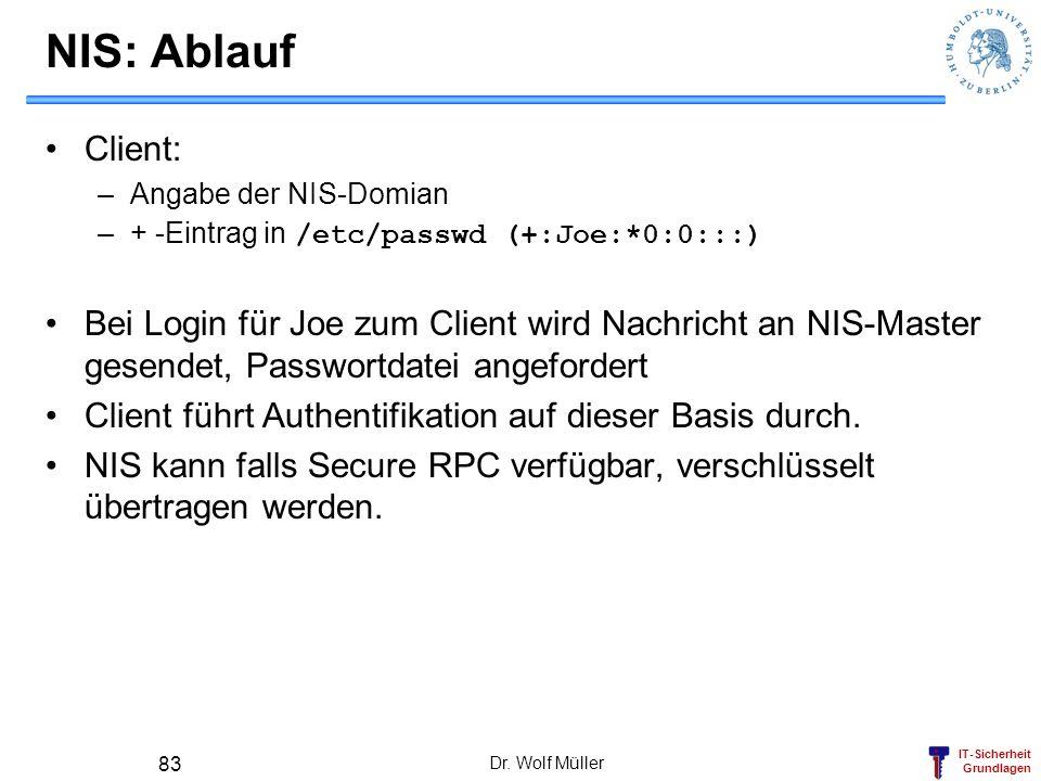 IT-Sicherheit Grundlagen Dr. Wolf Müller 83 NIS: Ablauf Client: –Angabe der NIS-Domian –+ -Eintrag in /etc/passwd (+:Joe:*0:0:::) Bei Login für Joe zu