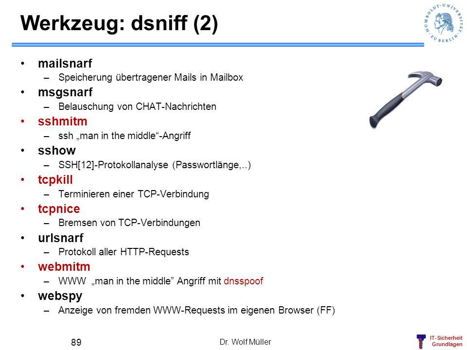 IT-Sicherheit Grundlagen Werkzeug: dsniff (2) mailsnarf –Speicherung übertragener Mails in Mailbox msgsnarf –Belauschung von CHAT-Nachrichten sshmitm