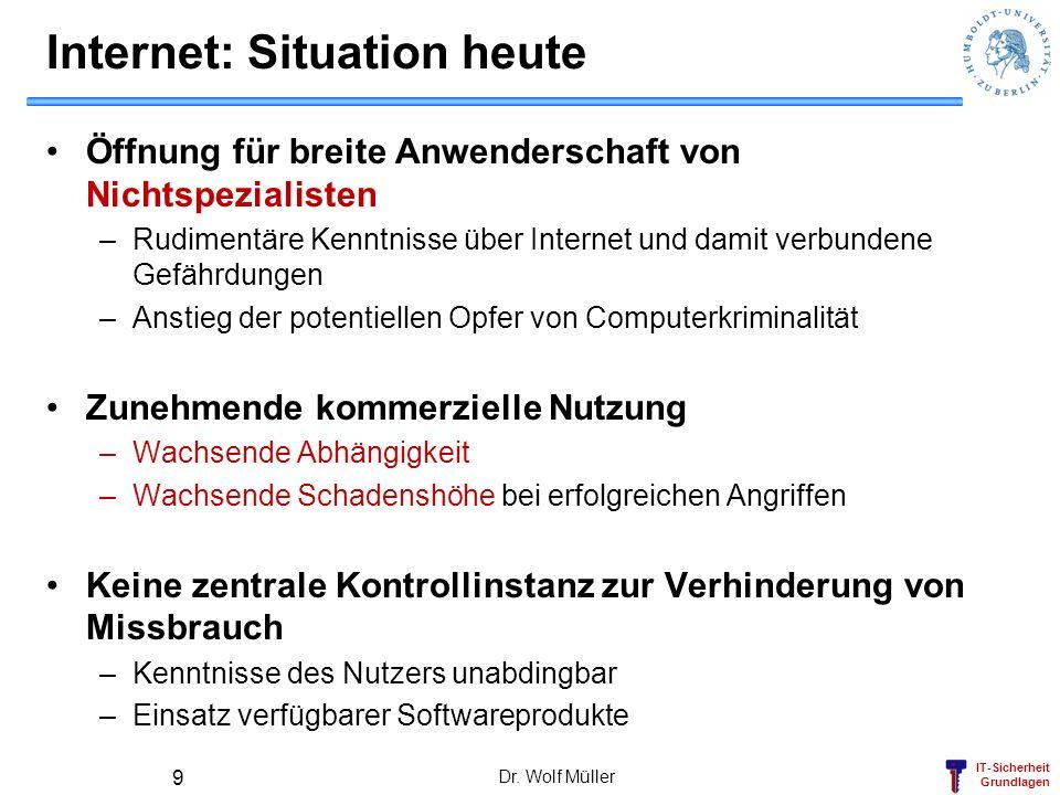 IT-Sicherheit Grundlagen Dr. Wolf Müller 9 Internet: Situation heute Öffnung für breite Anwenderschaft von Nichtspezialisten –Rudimentäre Kenntnisse ü