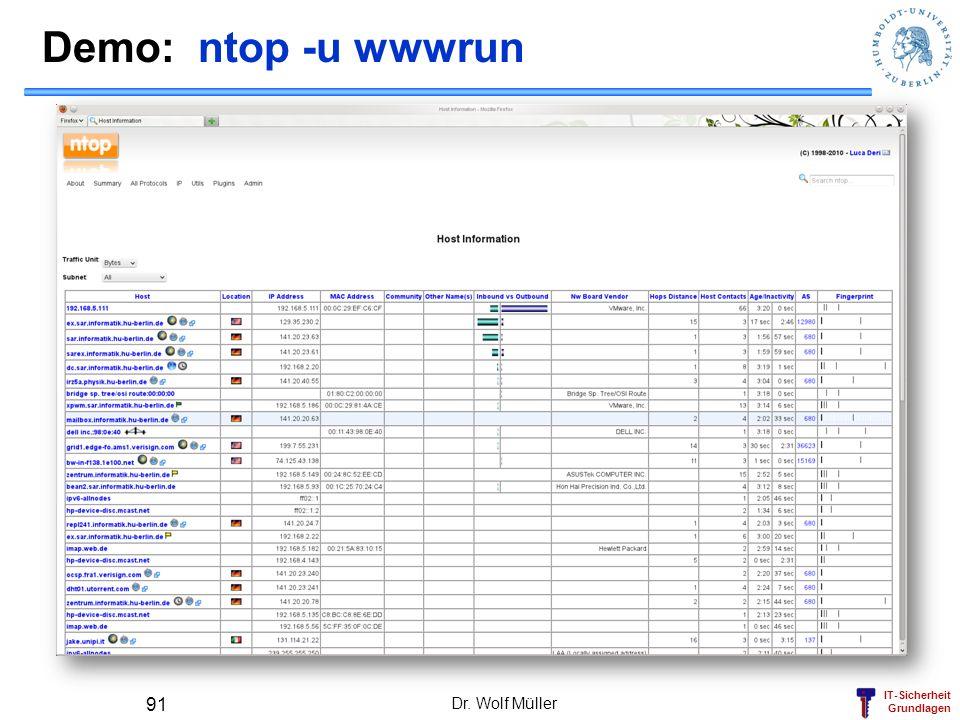 IT-Sicherheit Grundlagen Demo: ntop -u wwwrun Dr. Wolf Müller 91