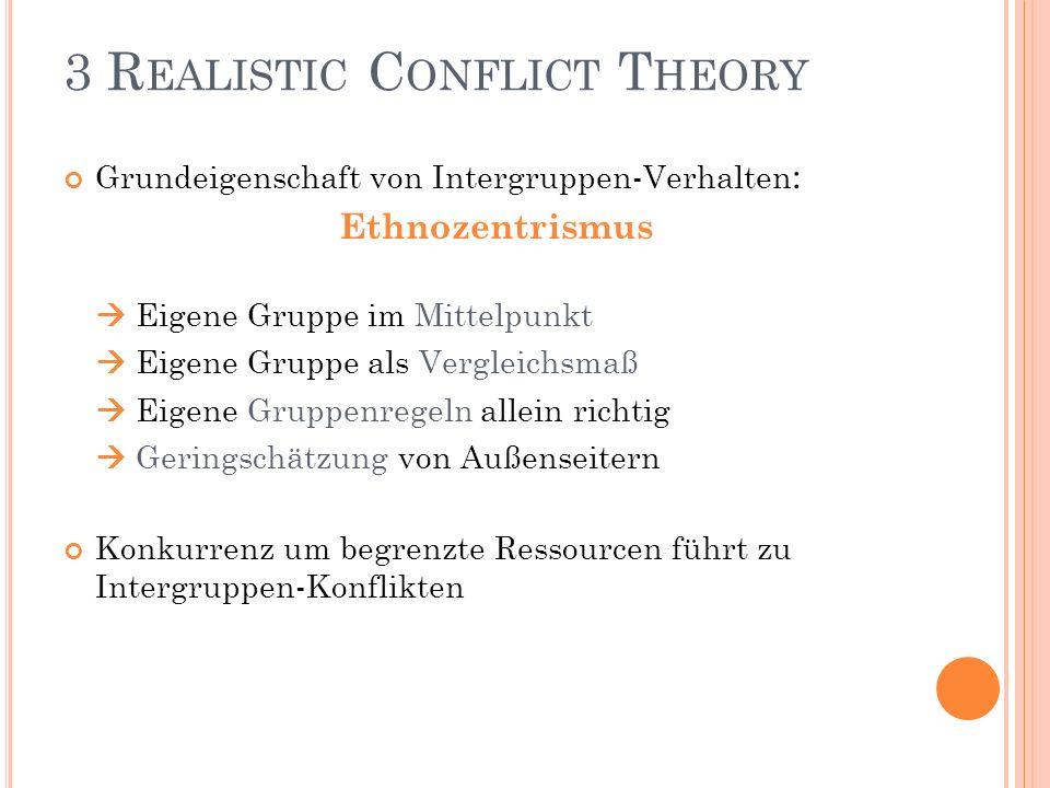 3 R EALISTIC C ONFLICT T HEORY Grundeigenschaft von Intergruppen-Verhalten : Ethnozentrismus Eigene Gruppe im Mittelpunkt Eigene Gruppe als Vergleichs