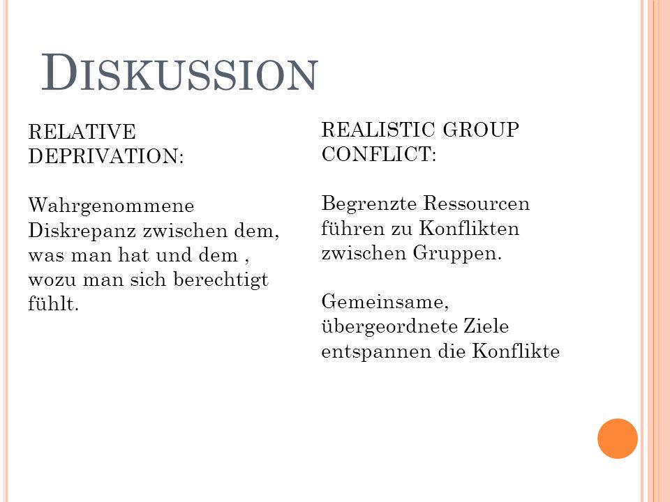 D ISKUSSION RELATIVE DEPRIVATION: Wahrgenommene Diskrepanz zwischen dem, was man hat und dem, wozu man sich berechtigt fühlt. REALISTIC GROUP CONFLICT
