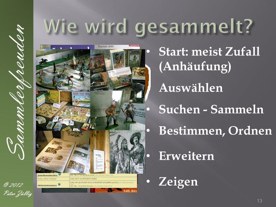 13 Sammlerfreuden © 2012 Peter Züllig Start: meist Zufall (Anhäufung) Auswählen Suchen - Sammeln Bestimmen, Ordnen Erweitern Zeigen