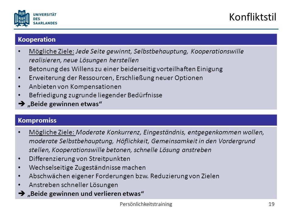 Konfliktstil Persönlichkeitstraining19 Kooperation Mögliche Ziele: Jede Seite gewinnt, Selbstbehauptung, Kooperationswille realisieren, neue Lösungen