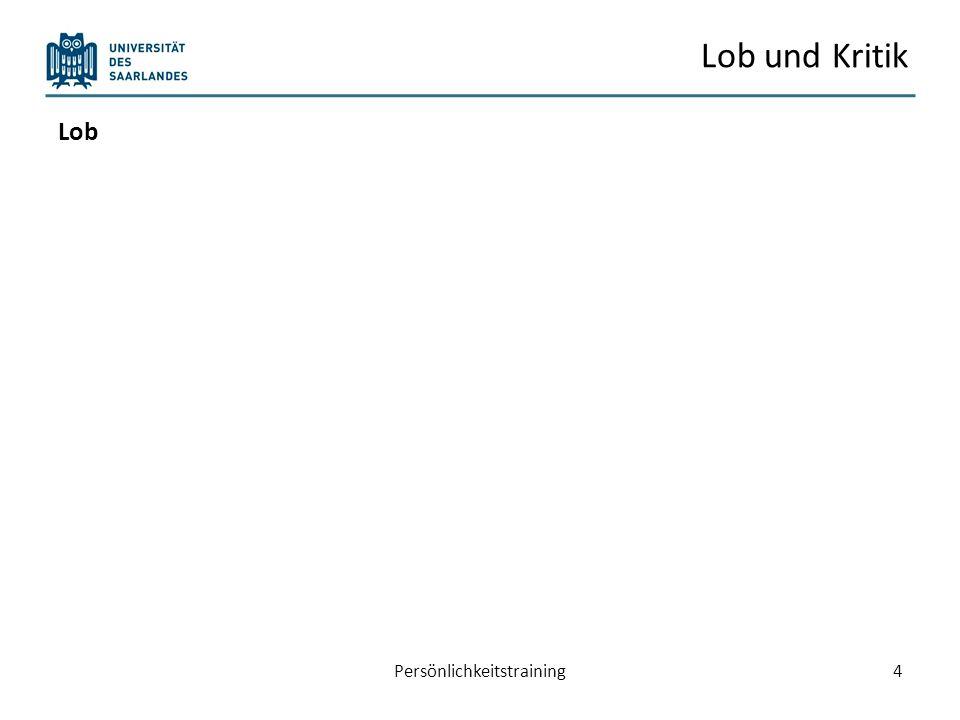 Konfliktstil Persönlichkeitstraining15 Orientierung an eigenen Interessen Orientierung an Interessen des anderen 1 5 9 159 Durchsetzen (9/1) Kompromiss (5/5) Kooperation (9/9) Vermeidung (1/1) Nachgeben (1/9) Quelle: Berkel (2008 )