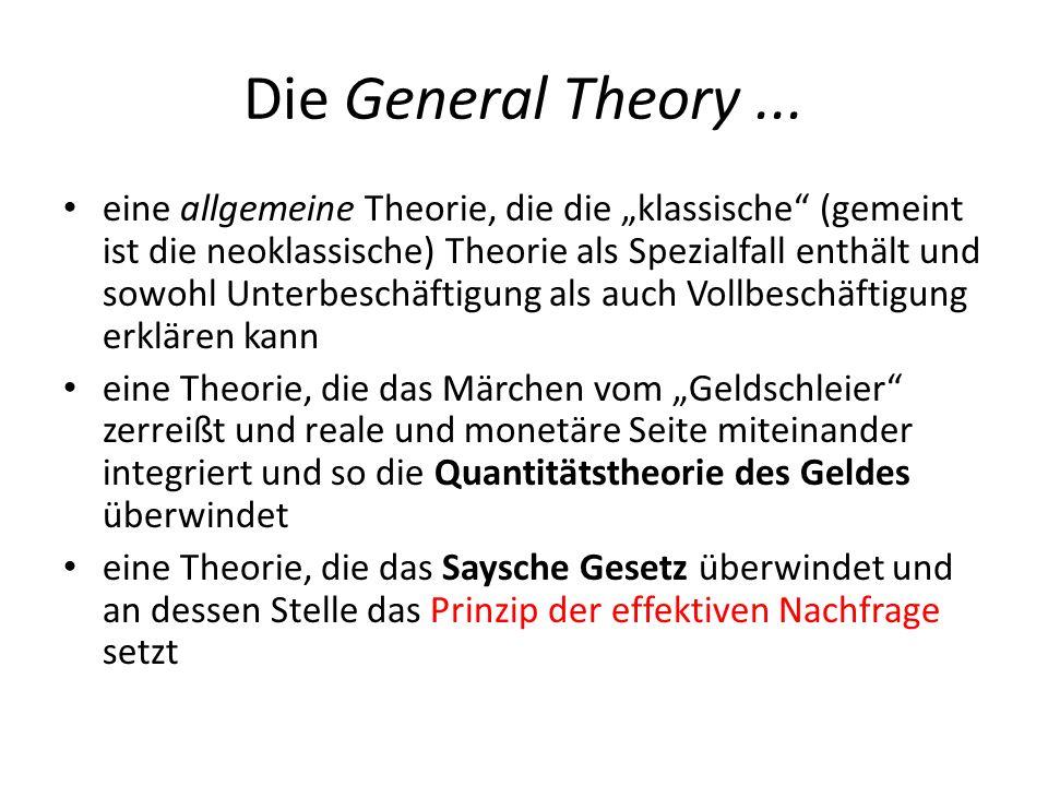 Die General Theory... eine allgemeine Theorie, die die klassische (gemeint ist die neoklassische) Theorie als Spezialfall enthält und sowohl Unterbesc