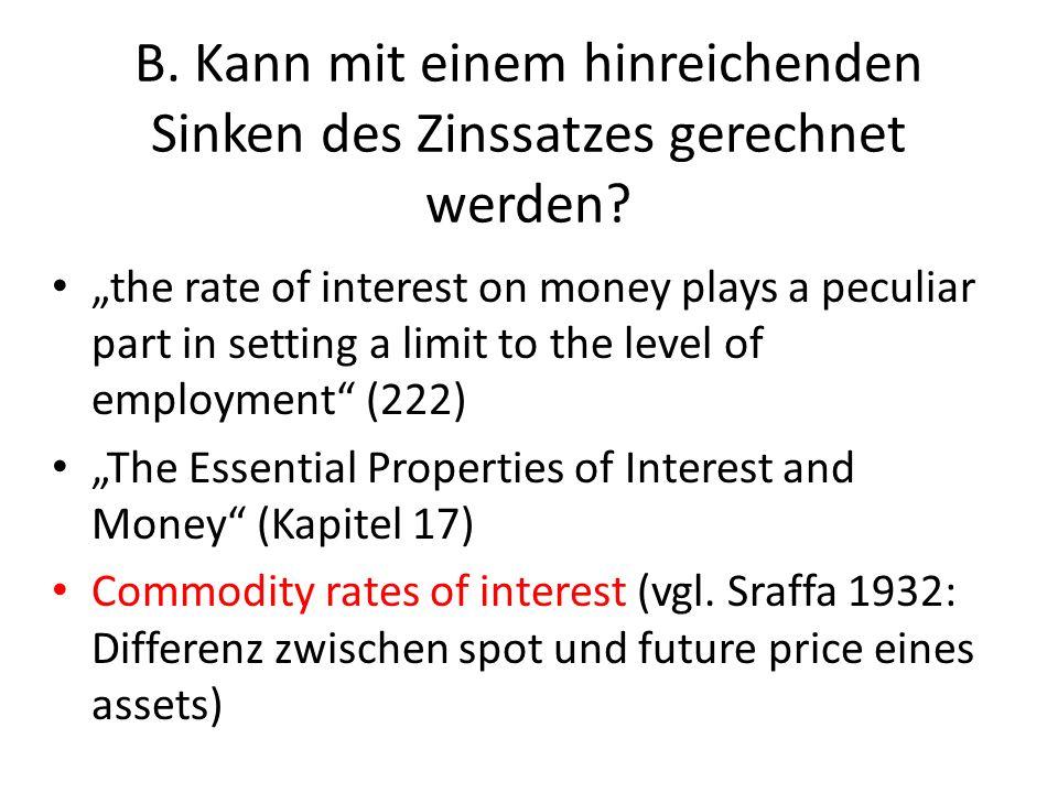 B. Kann mit einem hinreichenden Sinken des Zinssatzes gerechnet werden? the rate of interest on money plays a peculiar part in setting a limit to the