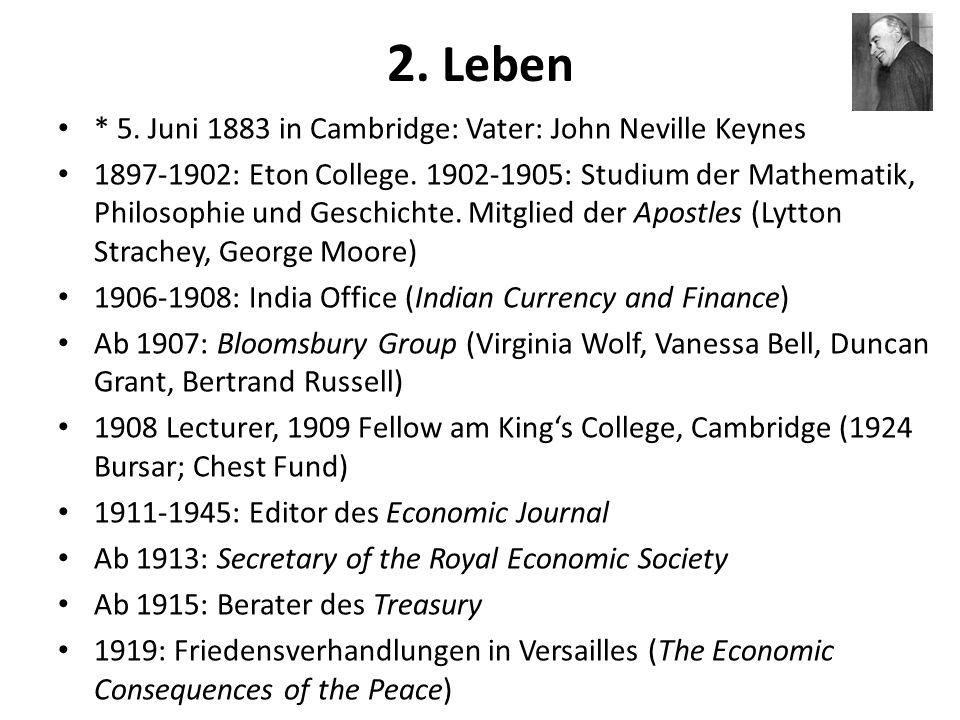 2. Leben * 5. Juni 1883 in Cambridge: Vater: John Neville Keynes 1897-1902: Eton College. 1902-1905: Studium der Mathematik, Philosophie und Geschicht