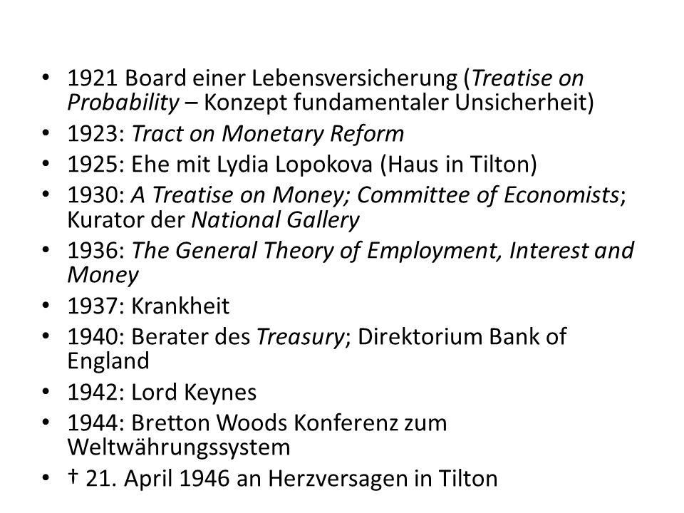 1921 Board einer Lebensversicherung (Treatise on Probability – Konzept fundamentaler Unsicherheit) 1923: Tract on Monetary Reform 1925: Ehe mit Lydia