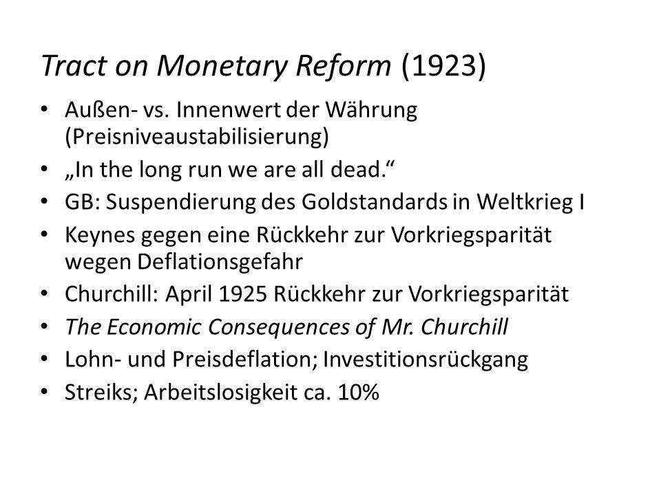 Tract on Monetary Reform (1923) Außen- vs. Innenwert der Währung (Preisniveaustabilisierung) In the long run we are all dead. GB: Suspendierung des Go