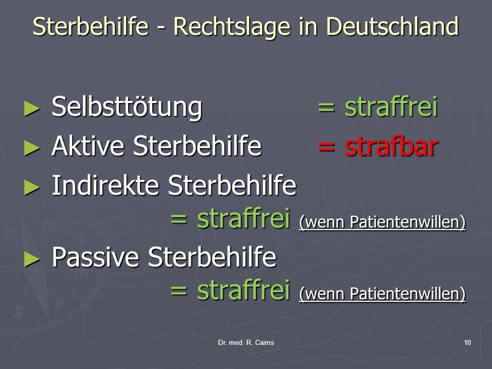 Sterbehilfe - Rechtslage in Deutschland Selbsttötung = straffrei Selbsttötung = straffrei Aktive Sterbehilfe = strafbar Aktive Sterbehilfe = strafbar