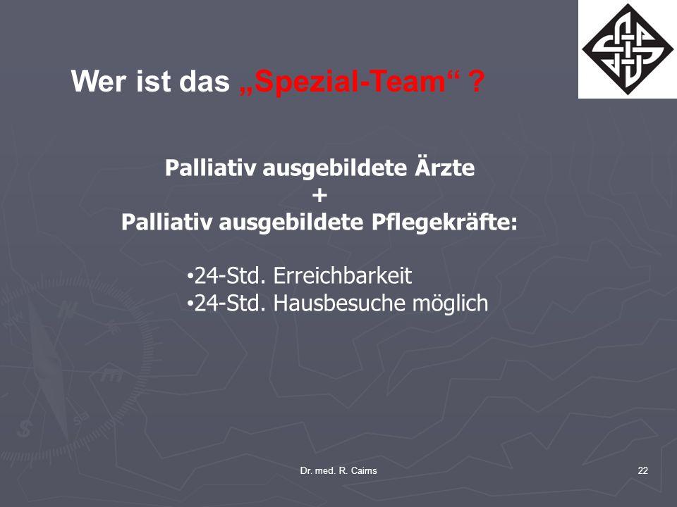 22 Wer ist das Spezial-Team ? Palliativ ausgebildete Ärzte + Palliativ ausgebildete Pflegekräfte: 24-Std. Erreichbarkeit 24-Std. Hausbesuche möglich