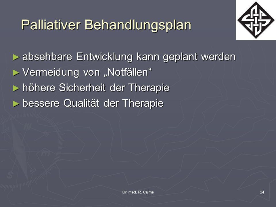 Dr. med. R. Cairns24 Palliativer Behandlungsplan absehbare Entwicklung kann geplant werden absehbare Entwicklung kann geplant werden Vermeidung von No