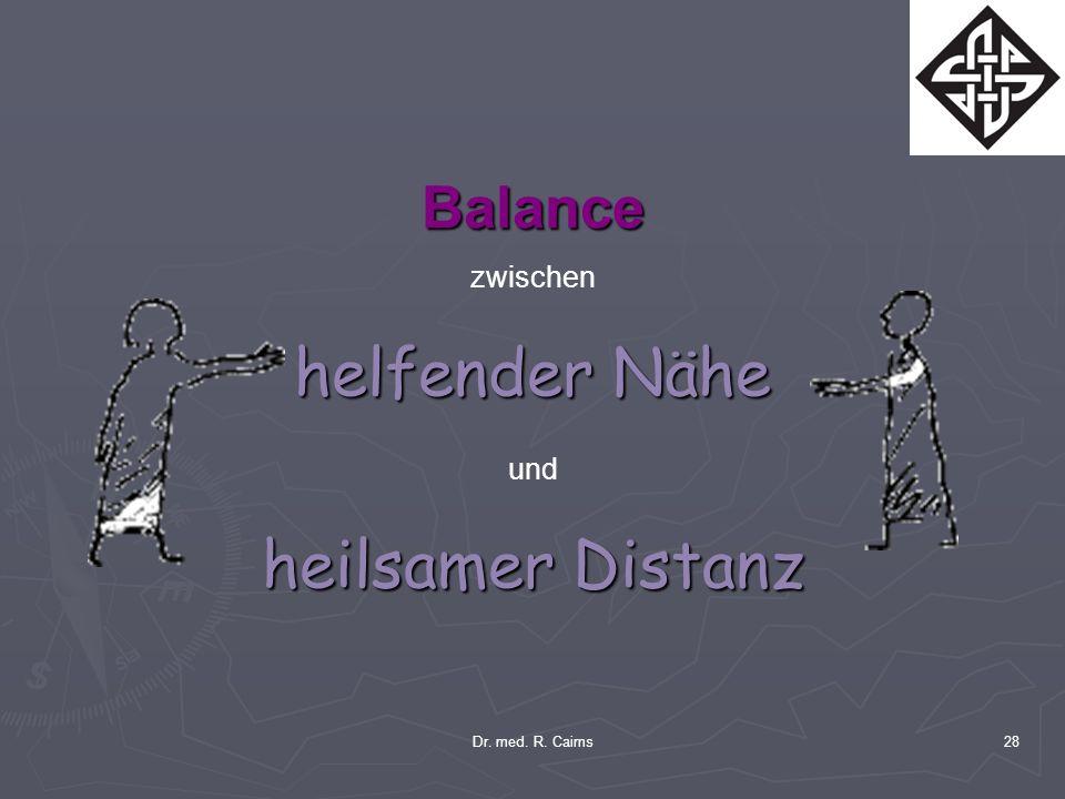 Dr. med. R. Cairns28 Balance zwischen helfender Nähe und heilsamer Distanz
