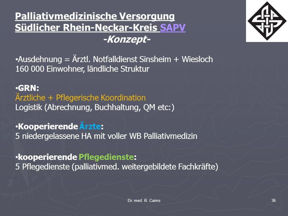 Dr. med. R. Cairns36 Palliativmedizinische Versorgung Südlicher Rhein-Neckar-Kreis SAPV -Konzept- Ausdehnung = Ärztl. Notfalldienst Sinsheim + Wiesloc