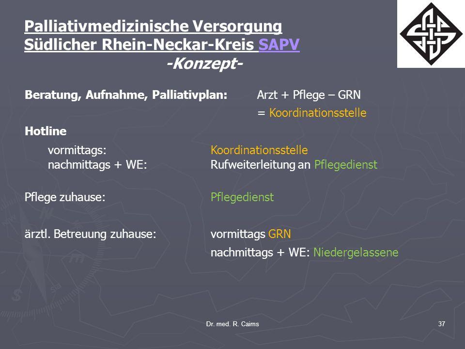 Dr. med. R. Cairns37 Palliativmedizinische Versorgung Südlicher Rhein-Neckar-Kreis SAPV -Konzept- Beratung, Aufnahme, Palliativplan:Arzt + Pflege – GR