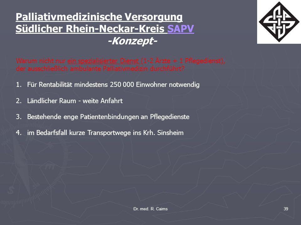 Dr. med. R. Cairns39 Palliativmedizinische Versorgung Südlicher Rhein-Neckar-Kreis SAPV -Konzept- Warum nicht nur ein spezialisierter Dienst (1-2 Ärzt
