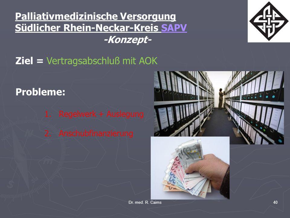 Dr. med. R. Cairns40 Palliativmedizinische Versorgung Südlicher Rhein-Neckar-Kreis SAPV -Konzept- Ziel = Vertragsabschluß mit AOK Probleme: 1.Regelwer