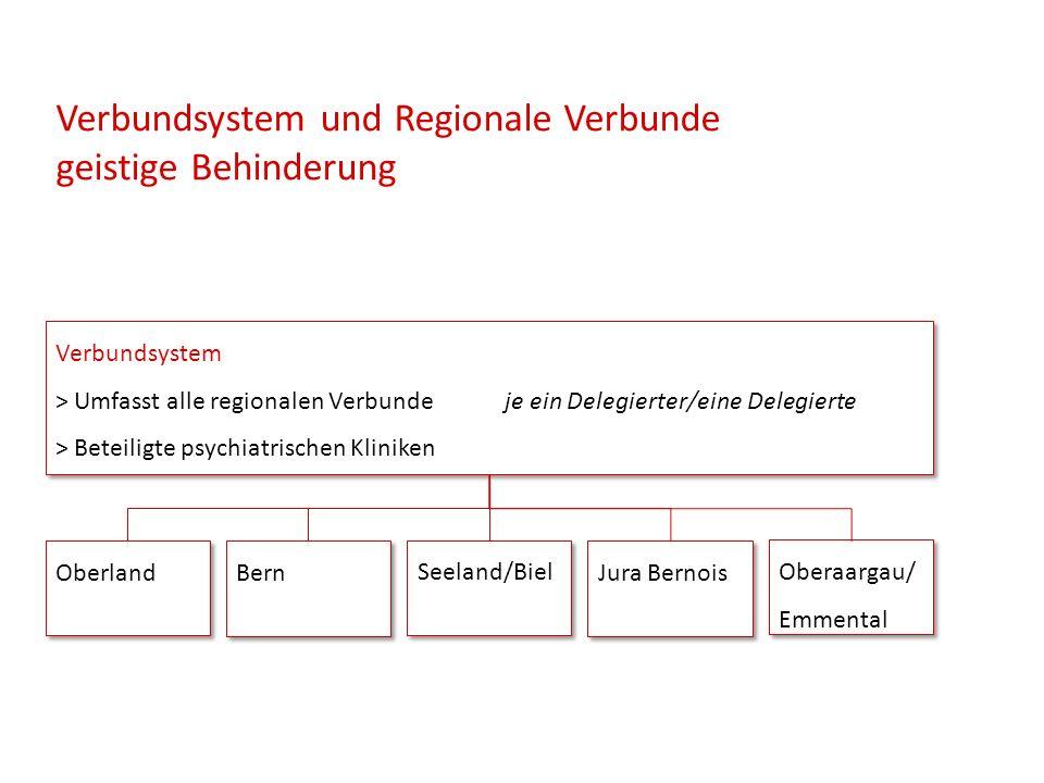 Verbundsystem und Regionale Verbunde geistige Behinderung Verbundsystem > Umfasst alle regionalen Verbunde je ein Delegierter/eine Delegierte > Beteiligte psychiatrischen Kliniken Verbundsystem > Umfasst alle regionalen Verbunde je ein Delegierter/eine Delegierte > Beteiligte psychiatrischen Kliniken Oberland Bern Seeland/Biel Jura Bernois Oberaargau/ Emmental