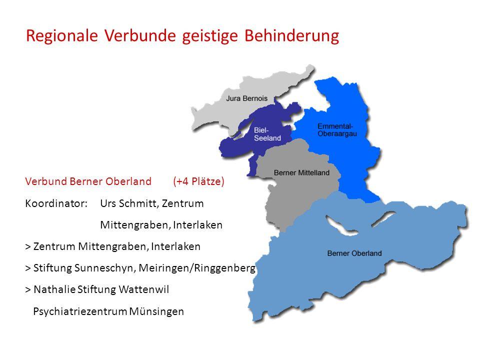 Regionale Verbunde geistige Behinderung Verbund Berner Oberland (+4 Plätze) Koordinator: Urs Schmitt, Zentrum Mittengraben, Interlaken > Zentrum Mitte